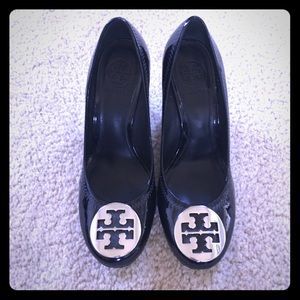 Tory Burch black and silver wedges size 7.5
